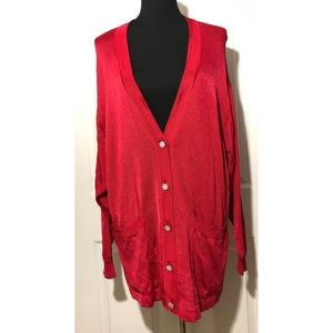 RODIER Jeweled Button Oversized Cardigan